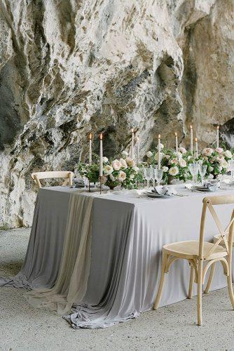 silver sage wedding long table with white flower and greenery tablerunner federicabeni_ed