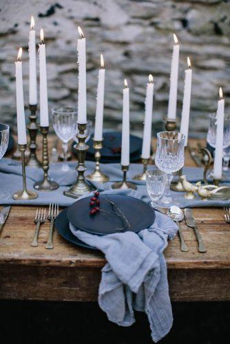 silver sage wedding table with candles and tablerunner white ash photography