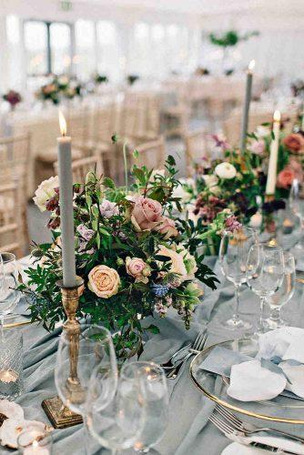 silver sage wedding table with flower cenerpieces and simple candles paulaohara