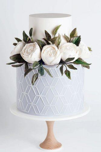 silver sage wedding white cake with geometry and roses sotiriasophie
