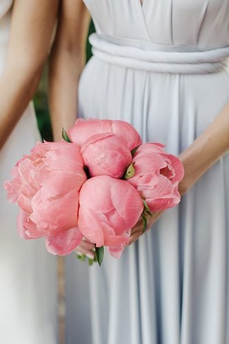 single bloom wedding bouquets pink peonies