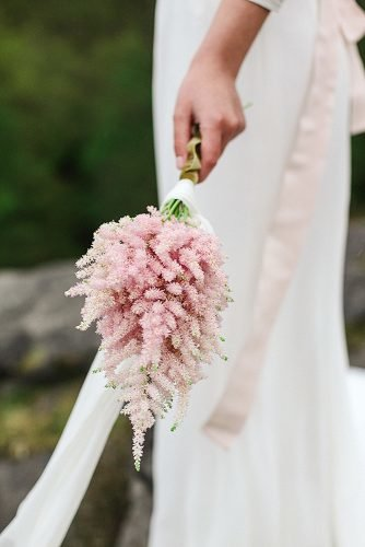 single bloom wedding bouquets pink astilbe