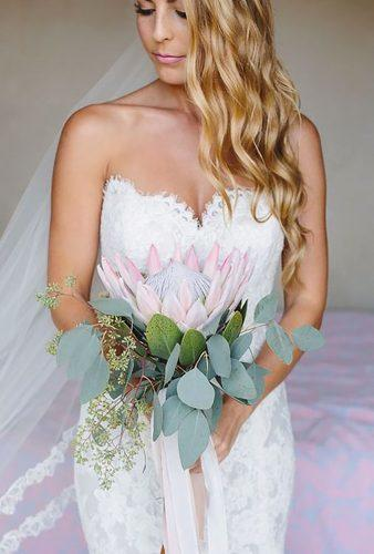 single stem wedding bouquets big protea Taryn Baxter