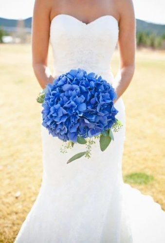 single stem wedding bouquets blue hydrangea hydran
