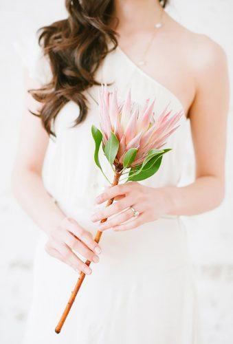single stem wedding bouquets king protea Blush Wedding Photography