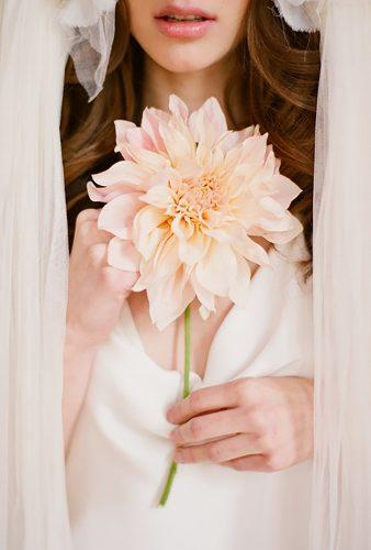single stem wedding bouquets peach dahlia Elizabeth Messina