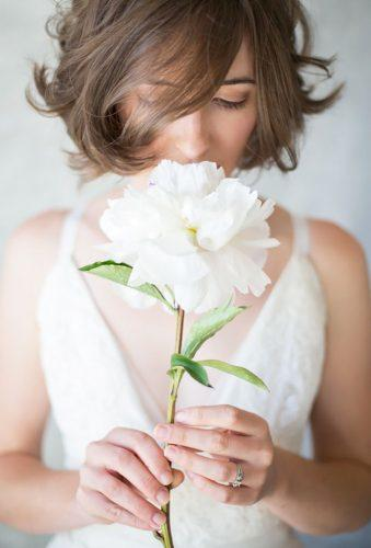 single stem wedding bouquets tender peony Lucia Gill Photography