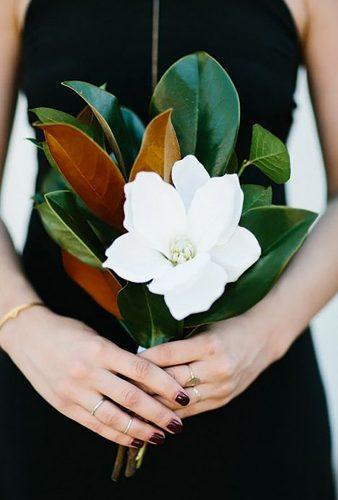 single stem wedding bouquets white magnolia M.K. Sadler Photography