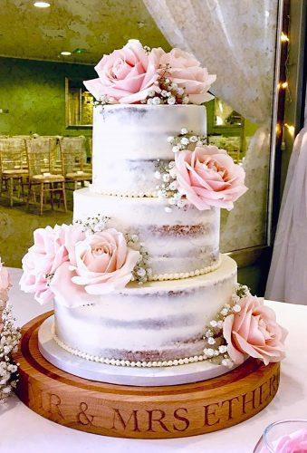 spring wedding cakes naked cake with roses frizellecakes