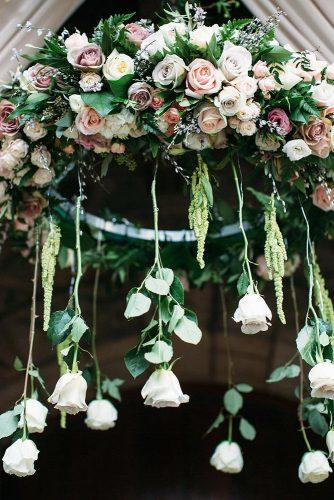 spring wedding decor gentle roses hanging lilac peach white greenery annaperevertaylo