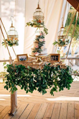 spring wedding decor hanging cake stand with roses and greenery in gold cages shoebox photography