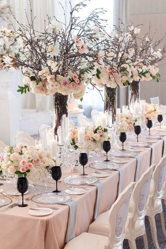 spring wedding decor spring brunches pink roses and white flowers 5ive15ifteen
