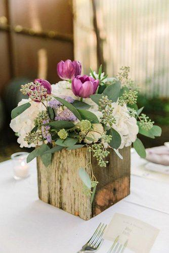 spring wedding decor tulip centerpiece in wood crates with spring flowers theedgeswed