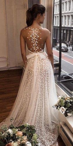 tattoo effect wedding dresses a line illusion back with bow berta