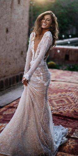 wedding dress designers sheath with long sleeves deep v neckline sequins tali photography
