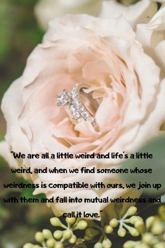 wedding readings romantic secular rose with engagement ring