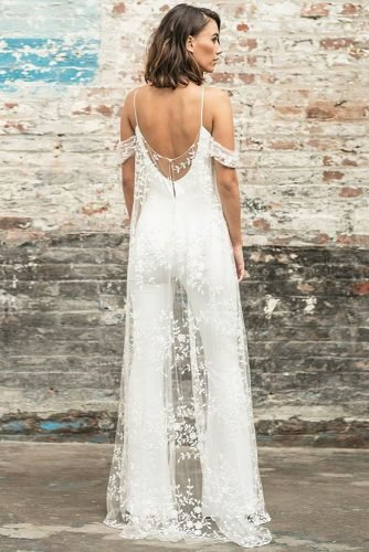 wedding trends 2019 wedding jumpsuit with elegant lace mantle rimearodaky