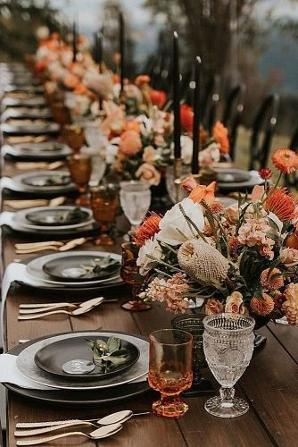 wedding trends dark wedding palette wedding table decor