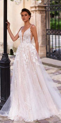 a line wedding dresses with spaghetti straps plunging neckline lace beach ideal moscow