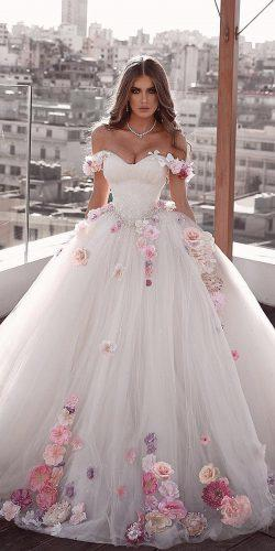 ball gown wedding dresses sweetheart neckline off the shoulder with 3d floral saidmhamadofficia