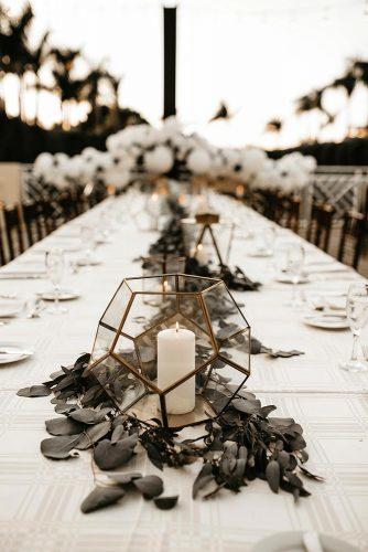 bohemian wedding decorations geometry glass vase with candle and greenery tablerunner ashtyn brooke photo