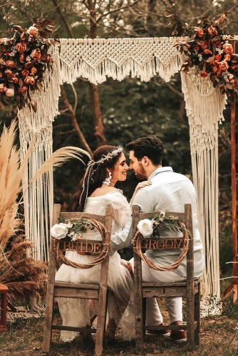 bohemian wedding decorations macrame outdoor bridal arch pampas grass and flowers huseyinkurt_wedding