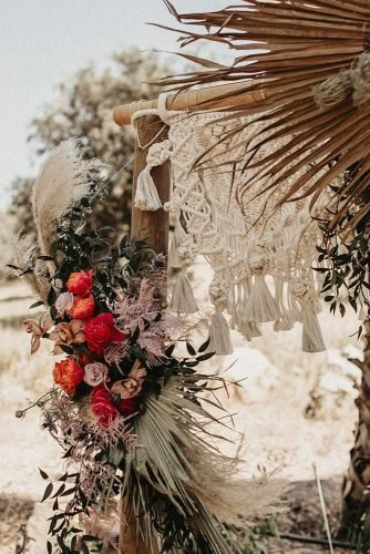 bohemian wedding decorations macrame wedding detail on bridal arch darkmaito