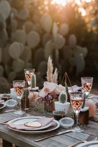 bohemian wedding decorations pale pink orchids cactuses gold pyramids centerpieces immerse photography