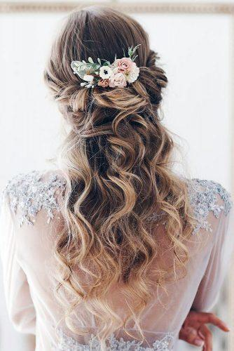 bohemian wedding hairstyles half up half down airy long curls and flowers serenitywedding