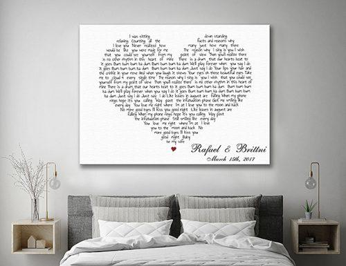 bridal shower gifts love poem canvas