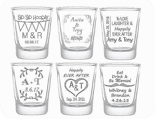 bridal shower gifts personalized wedding shot glasses