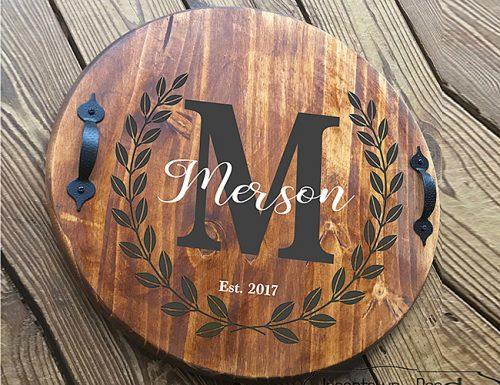 bridal shower gifts round wood tray