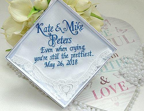 bridal shower gifts something blue handkerchief