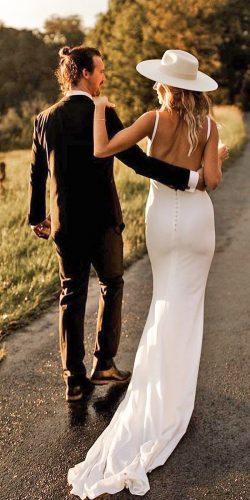country style wedding dresses sheath simple backless with spaghetti straps houseoflucielove