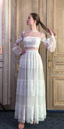 country style wedding dresses tea length with long sleeves lace costarellos