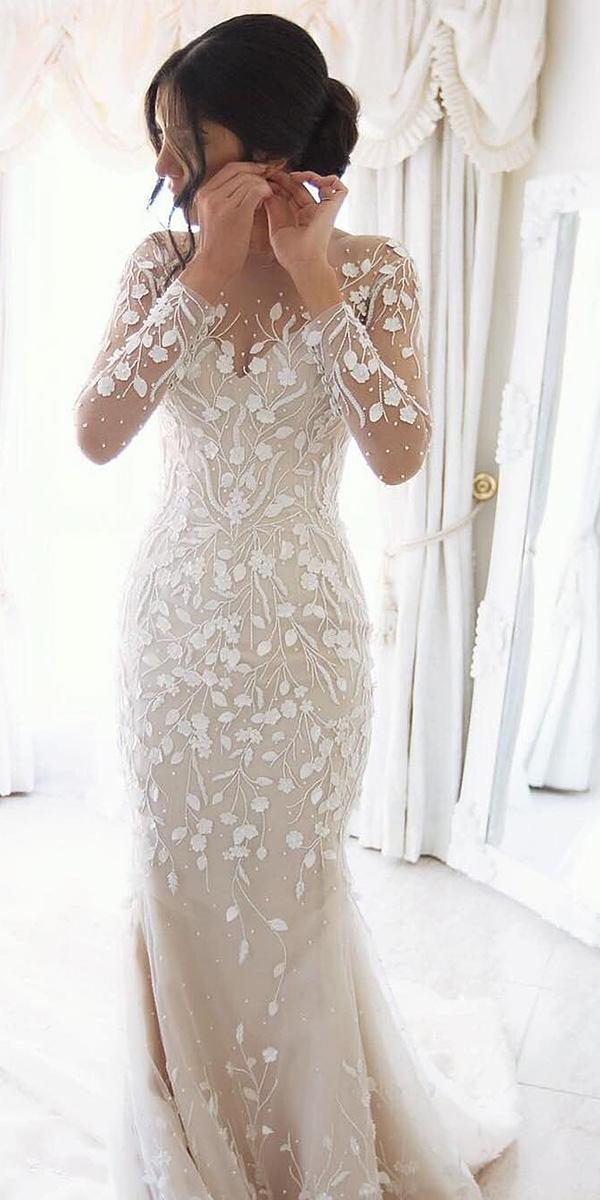 mermaid wedding dresses with illusion neckline floral appliques steven khalil