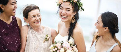 mother of the bride gifts happy bride with mom smiling