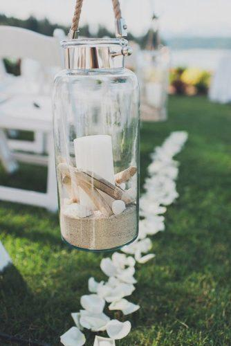 nautical wedding aisle in glass jar with sand and candles carina skrobecki photography