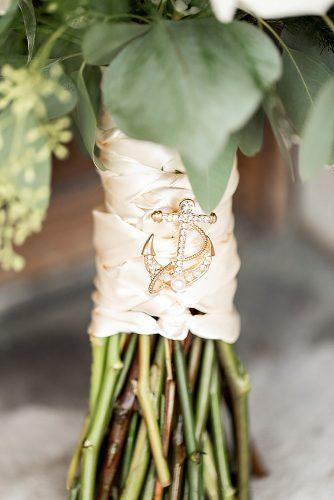 nautical wedding bouquet with silk ribbon and anchor pin alexandria photography