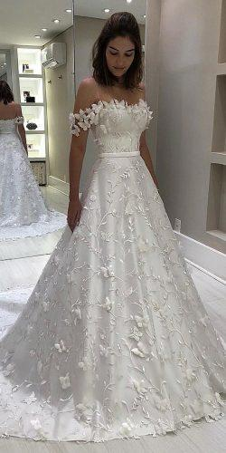 off the shoulder wedding dresses a line sweetheart floral appliques isabellanarchi