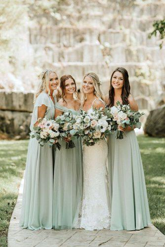 sage green wedding bridesmaids dresses and romantic bouquets T&K Photography