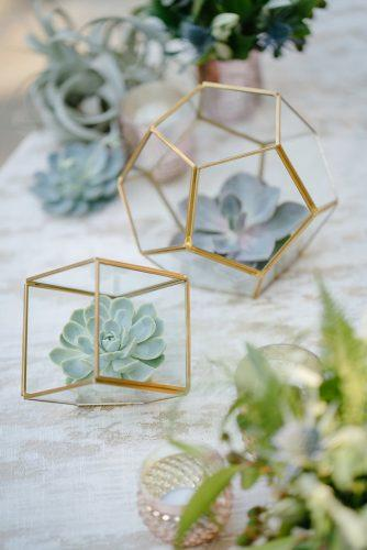 sage green wedding centerpieces glass and gold geometric terrarium with succulents karlisch photography