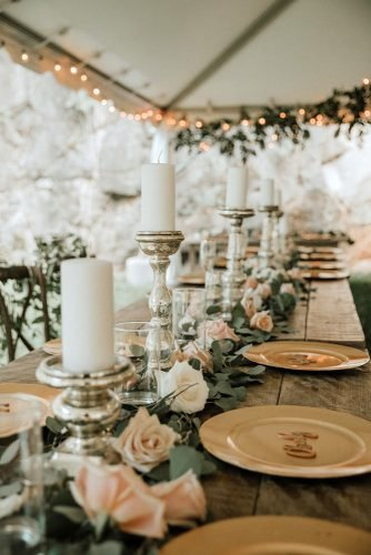 sage green wedding fresh flowers table runner with candles t&k photography