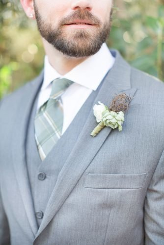 sage green wedding grey groom suit with tie and boutonniere amy jordan