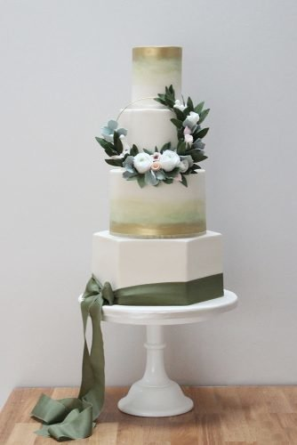 sage green wedding tall wedding cake with flowers ribbon and ombre decor pinkcakeboxuk