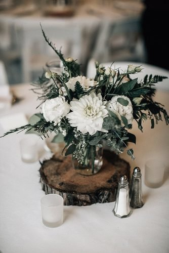 sage green wedding white dahlias and greenery in jar centerpiece bethany small