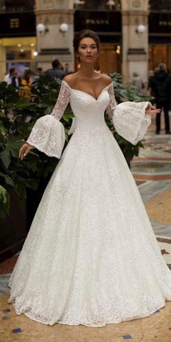 tarik ediz wedding dresses a line with long sleeves off the shoulder full lace