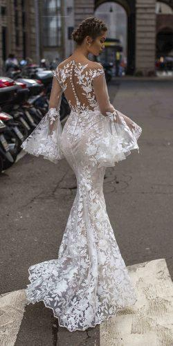tarik ediz wedding dresses fit and flare with illusion long sleeves nude floral