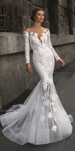 tarik ediz wedding dresses fit and flare with long sleeves illusion neckline lace 2019