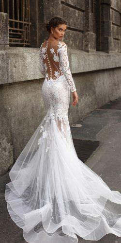 tarik ediz wedding dresses fit and flare with long sleeves lace illusion back